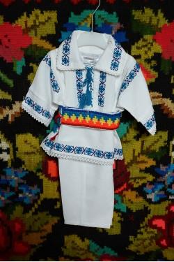 Costum popular romanesc baiat pentru botez